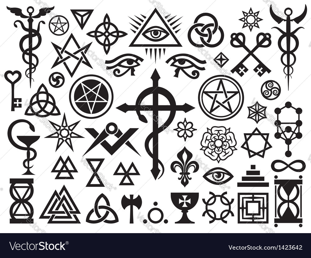 Medieval occult signs and magic stamps vector
