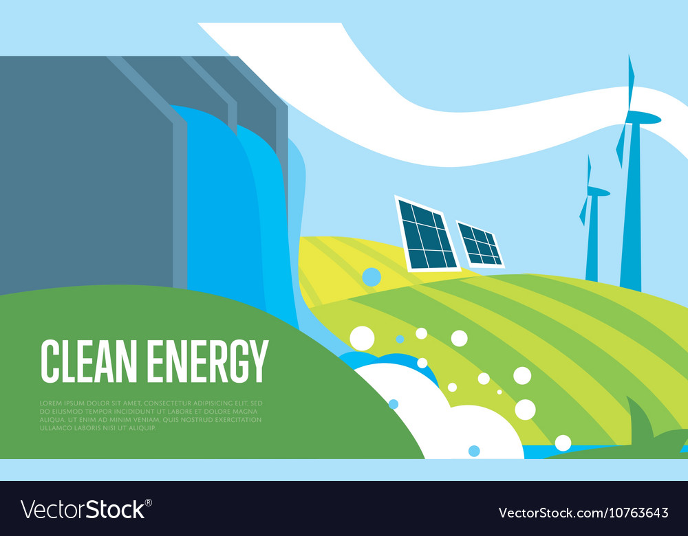 Clean energy sun water and wind power vector