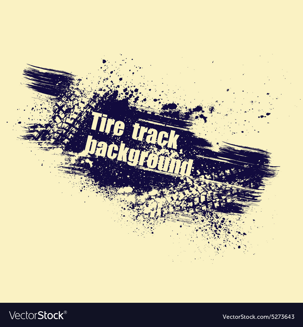 Grunge tire track background vector