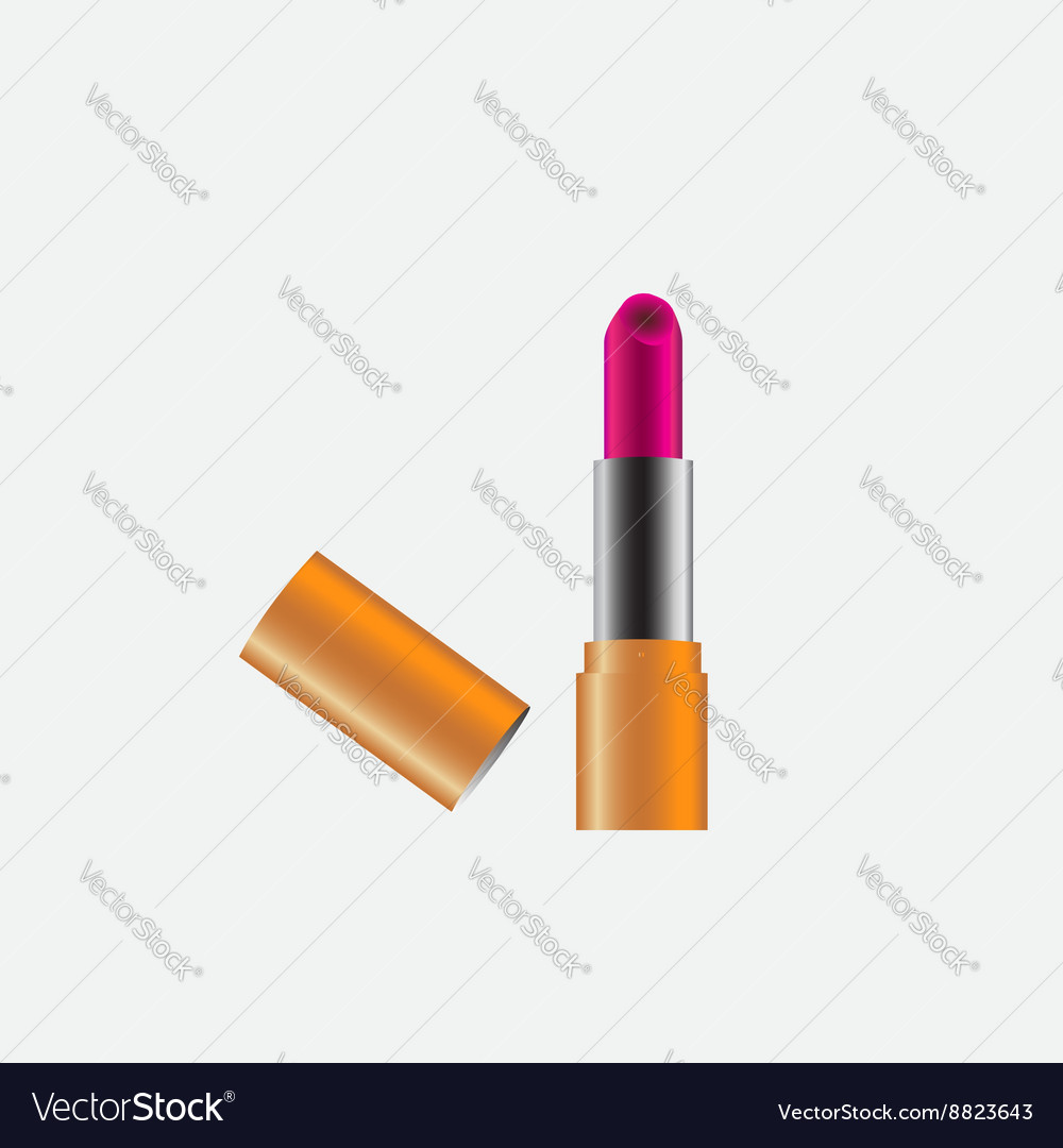 Pink lipstick with copper case cover vector