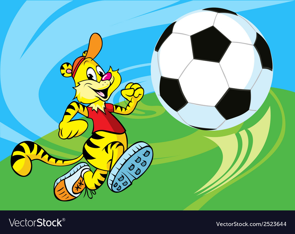 Tiger play spccer vector