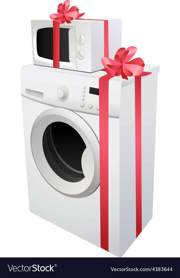 Washing machine and microwave with red gift ribbon vector