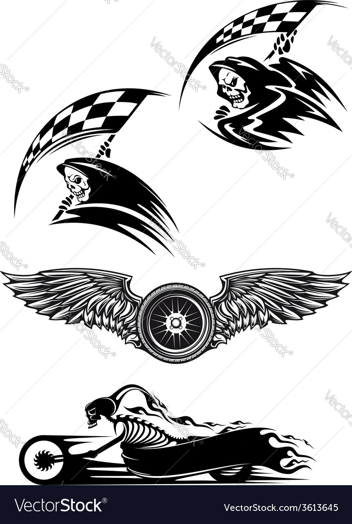 Black motocross mascot design vector