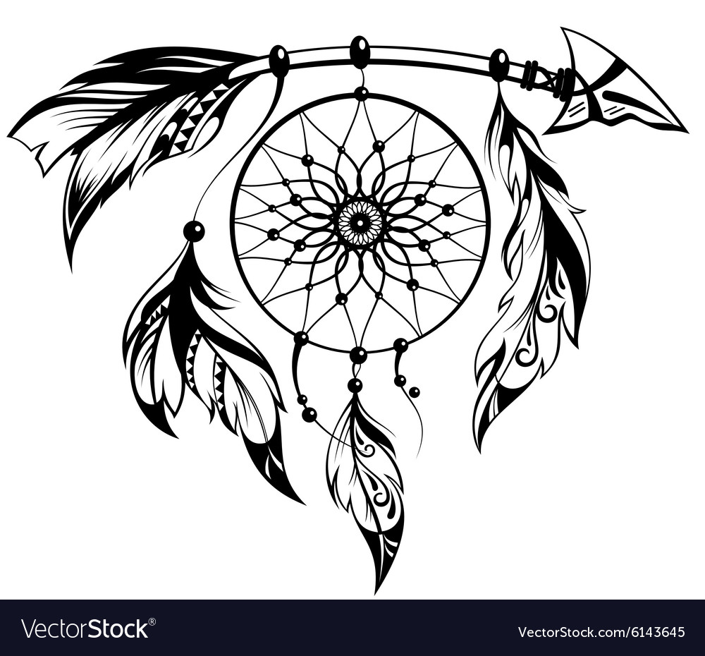 Hand drawn of dream catcher vector
