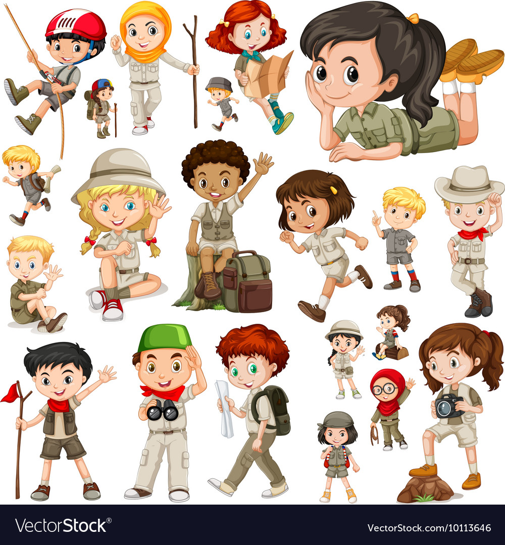 Boys and girls in safari outfit vector