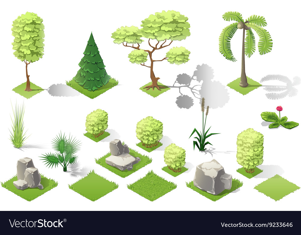 Isometric plants garden forest collection vector