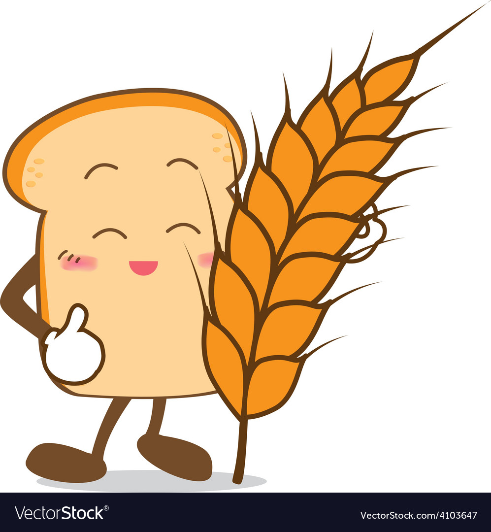 Bread 15 isolated happy smile slice of bread vector