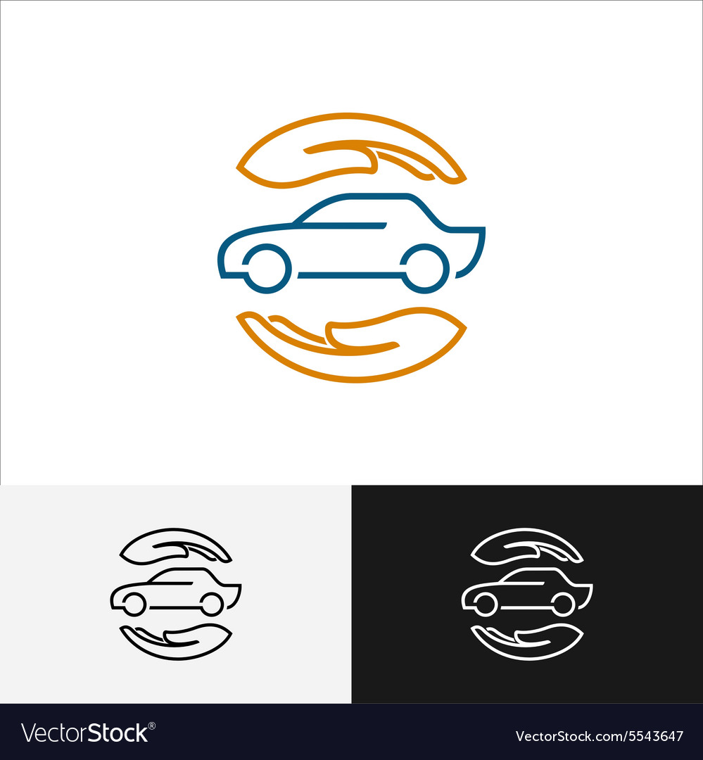 Car insurance logo with care hands around vector