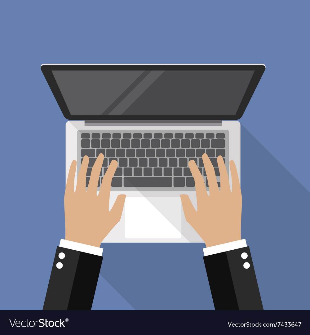 Hands on laptop keyboard top view vector