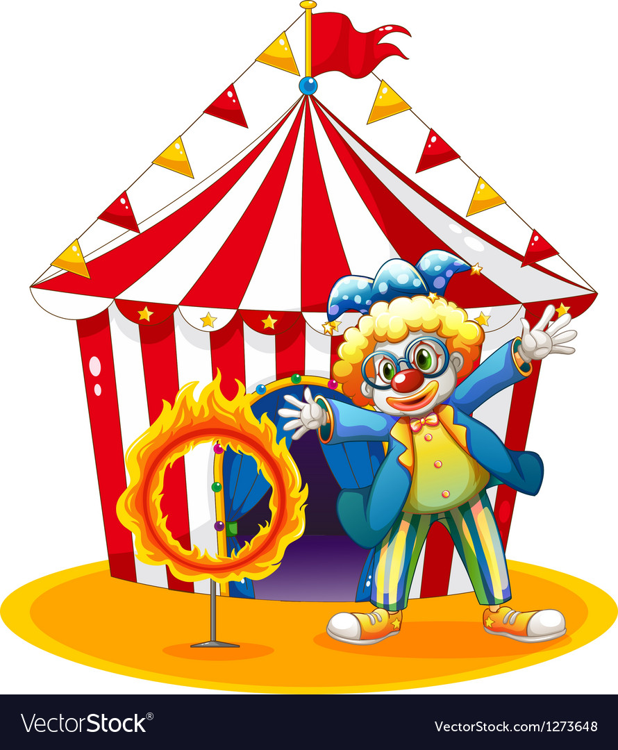 A circus tent at the back of the clown with a ring vector