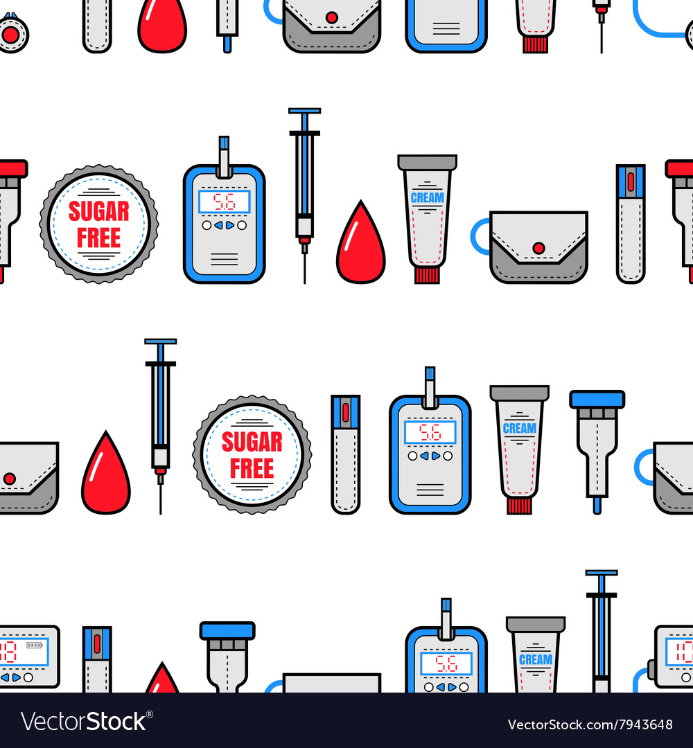 Seamless pattern diabetes medical flat icons vector