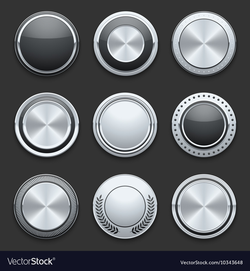 Silver metal chrome buttons set vector