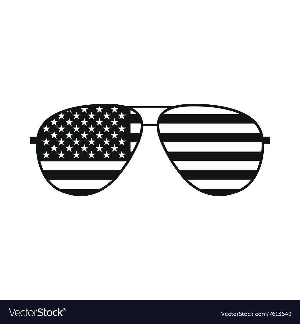 American flag glasses icon vector