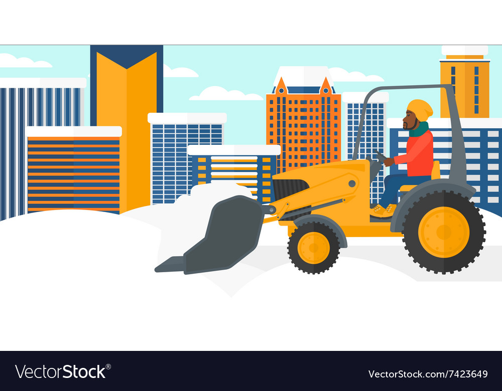 Man plowing snow vector