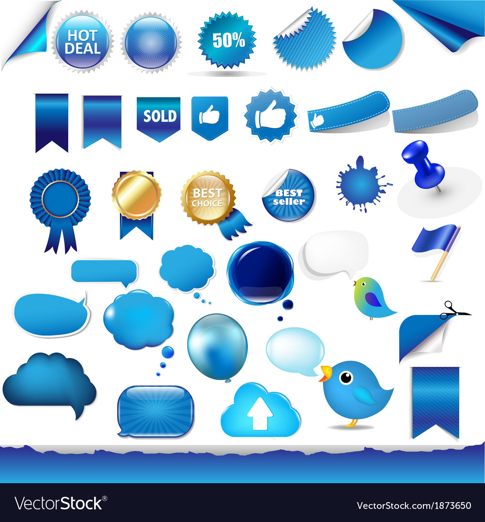 Big set from objects of blue color vector