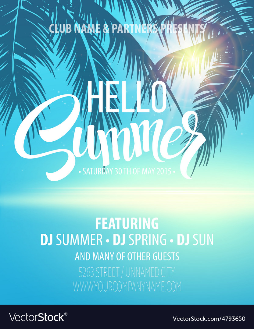 Hello summer beach party flyer design vector
