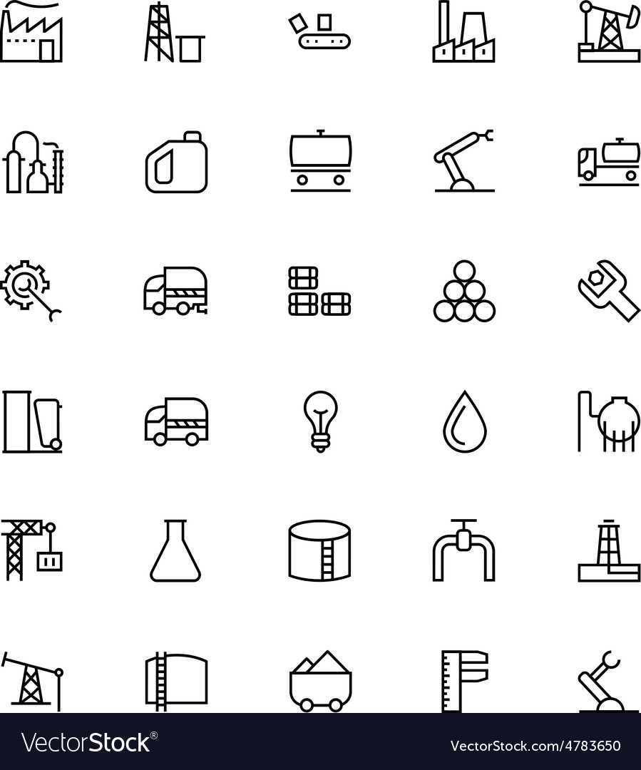 Industrial processes line icons 1 vector
