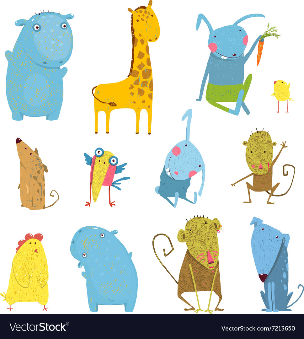 Set of animals cartoon vector