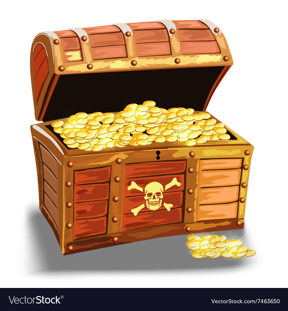 Wooden pirate chest with golden coin vector