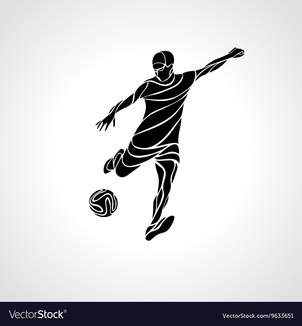 Soccer or football player kicks the ball vector