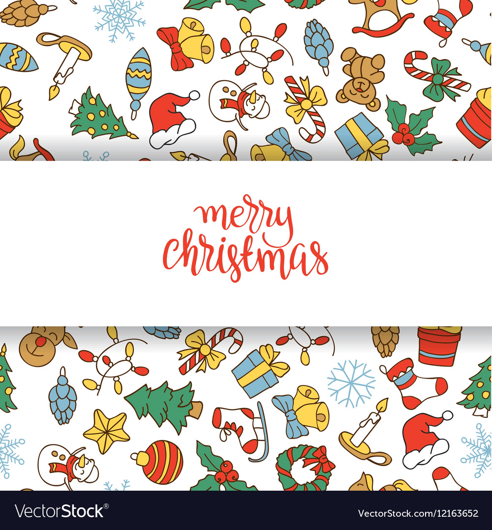 Christmas background with different icons vector