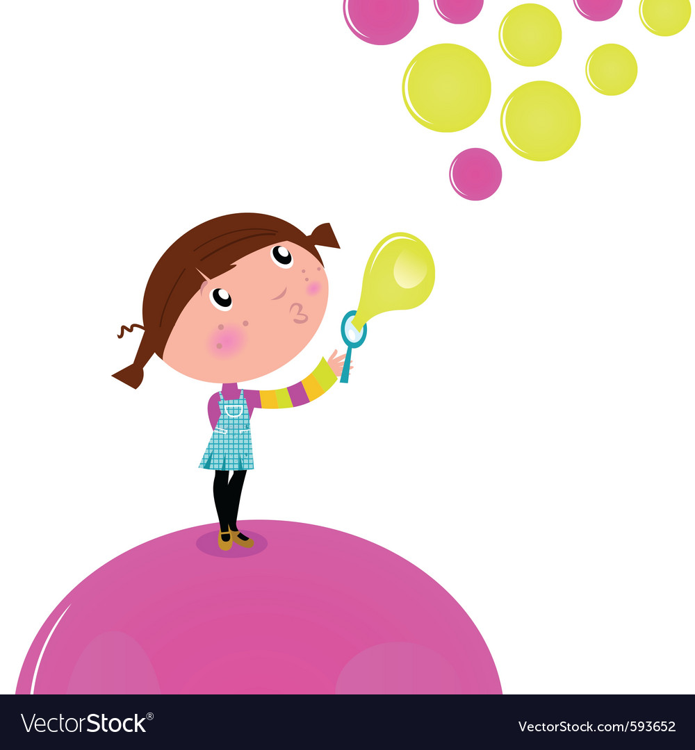 Cute little kid blowing soap bubbles vector
