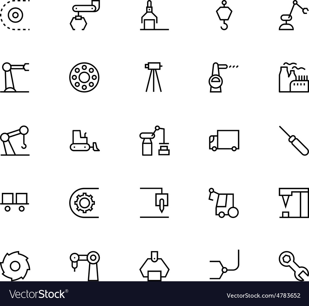 Industrial processes line icons 4 vector