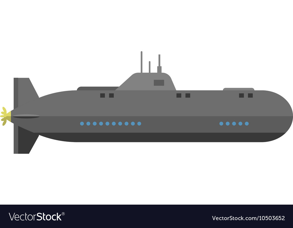 Isolated military submarine vector