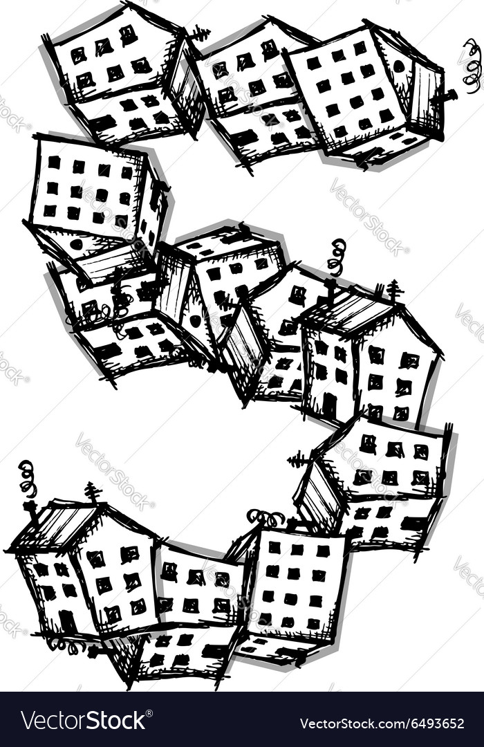 Number five made from houses alphabet vector
