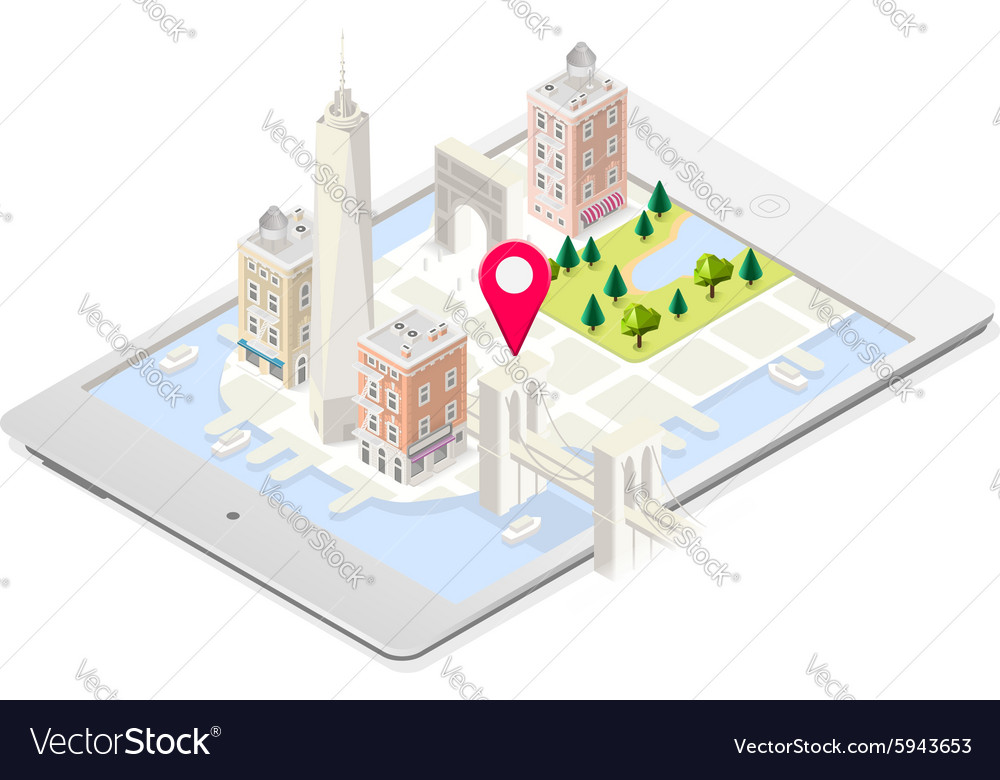 Nyc map 02 building isometric vector