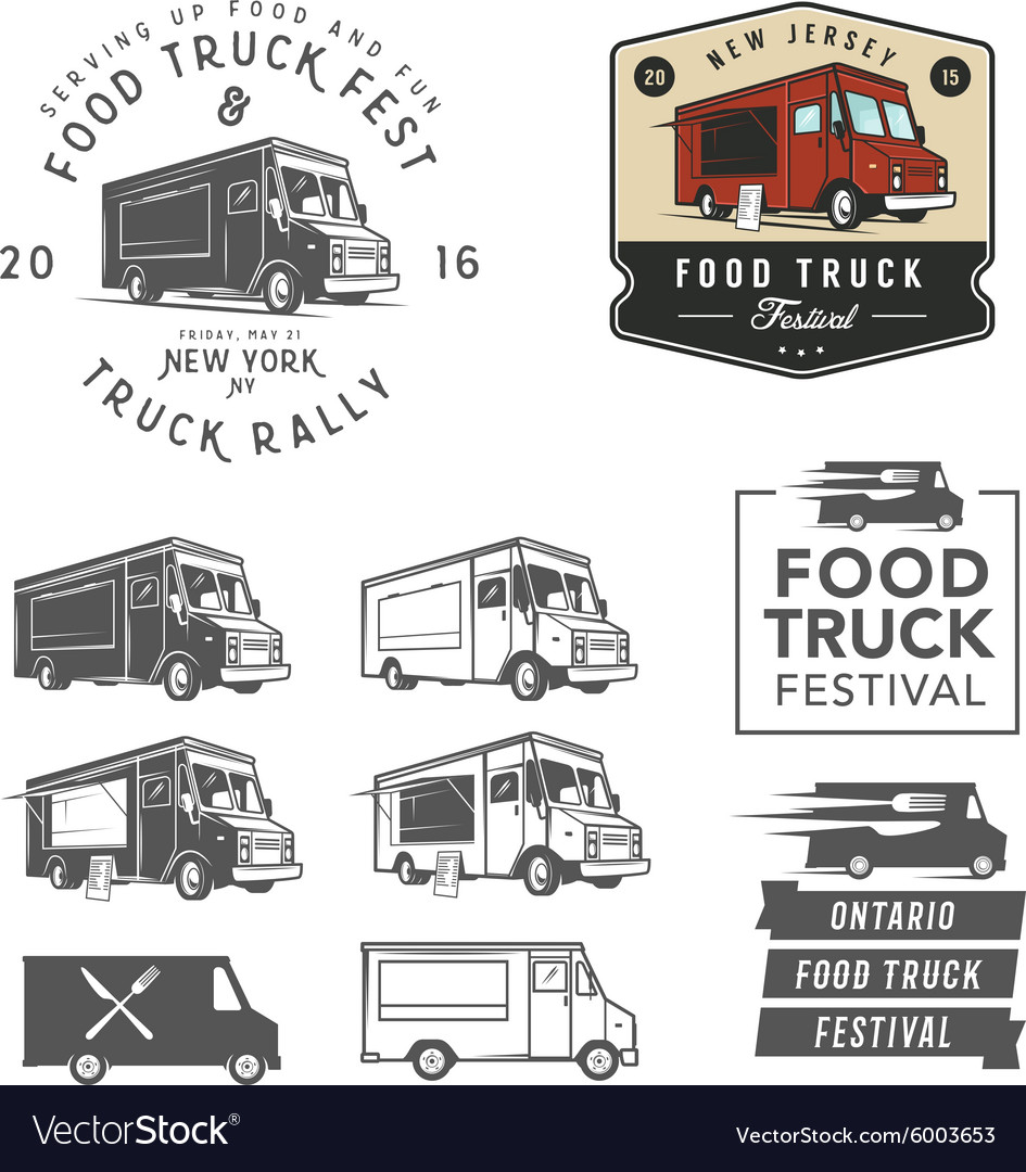 Set of food truck festival emblems badges and des vector