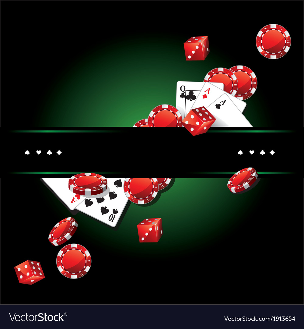 Cards chips casino background vector