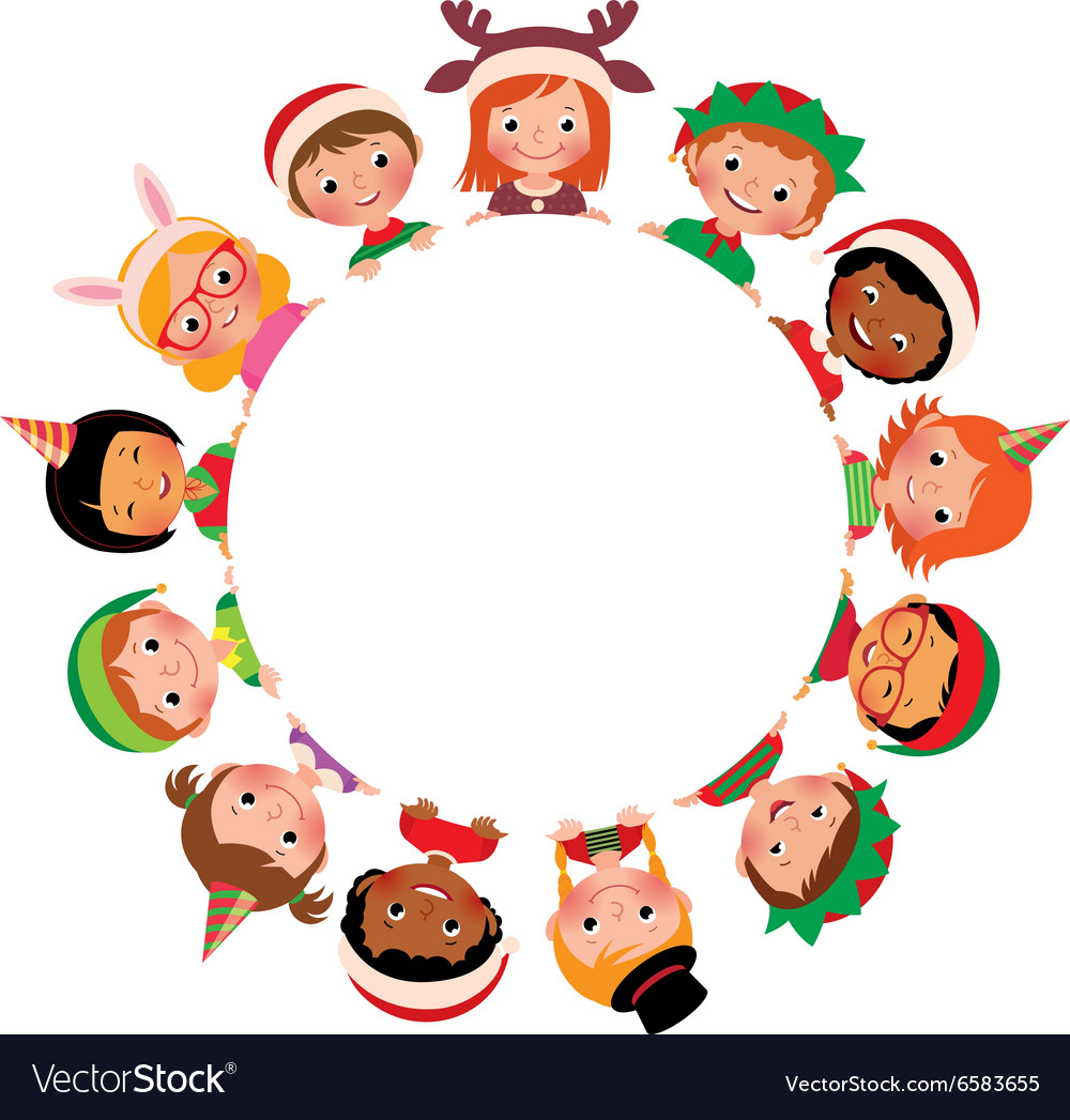 Children in the costume of christmas vector