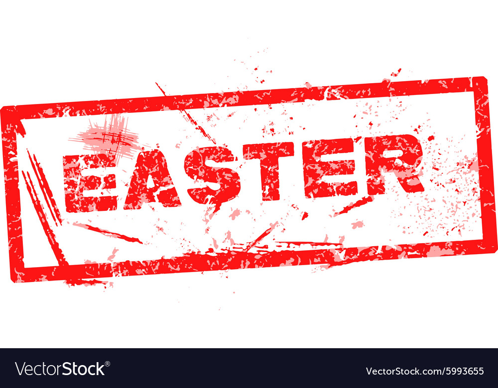 Easter red grunge rubber stamp vector