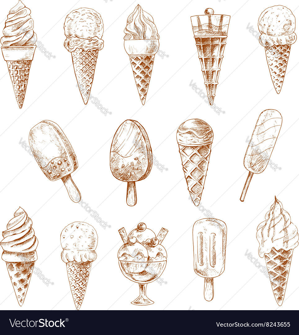 Ice cream desserts isolated sketches vector