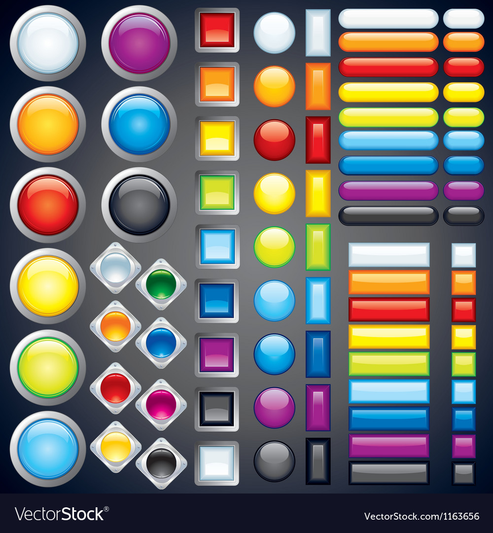 Collection of web buttons icons bars image vector