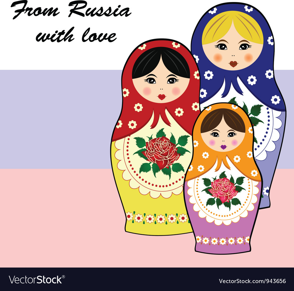 Traditional russian matryoschka dolls vector