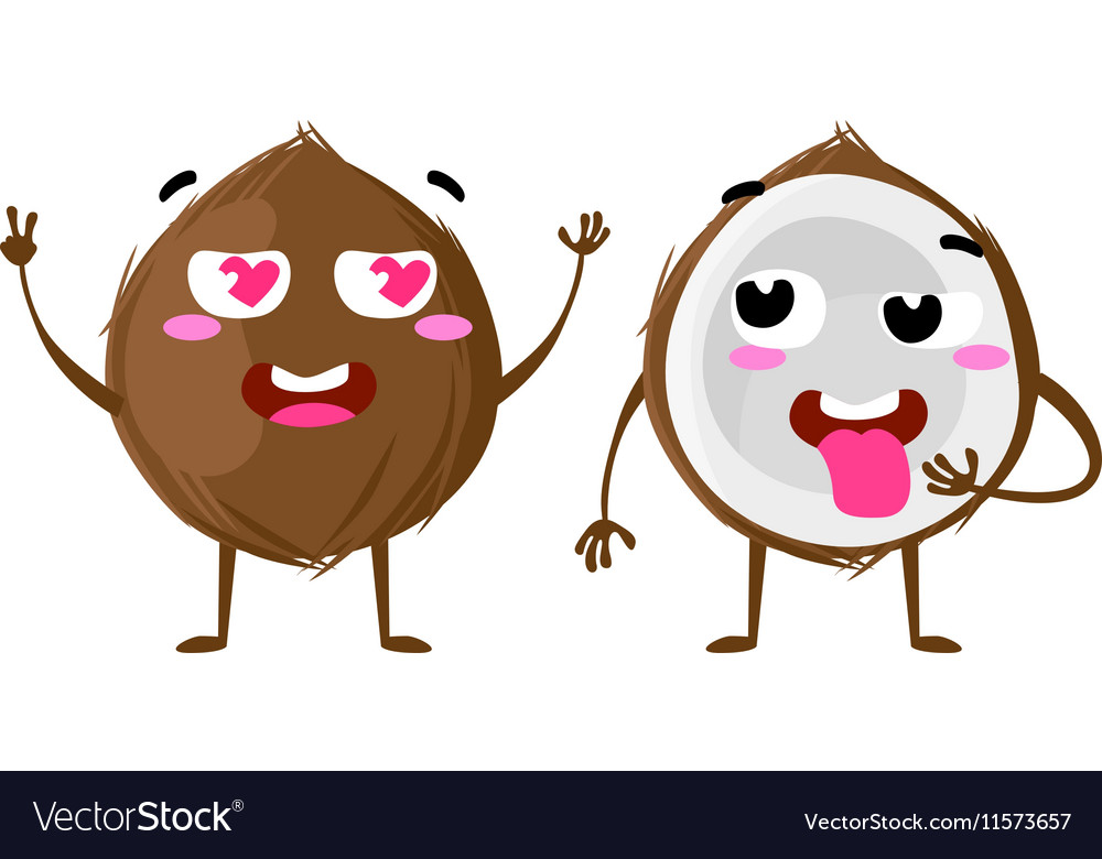 Coconut cute fruit character couple vector
