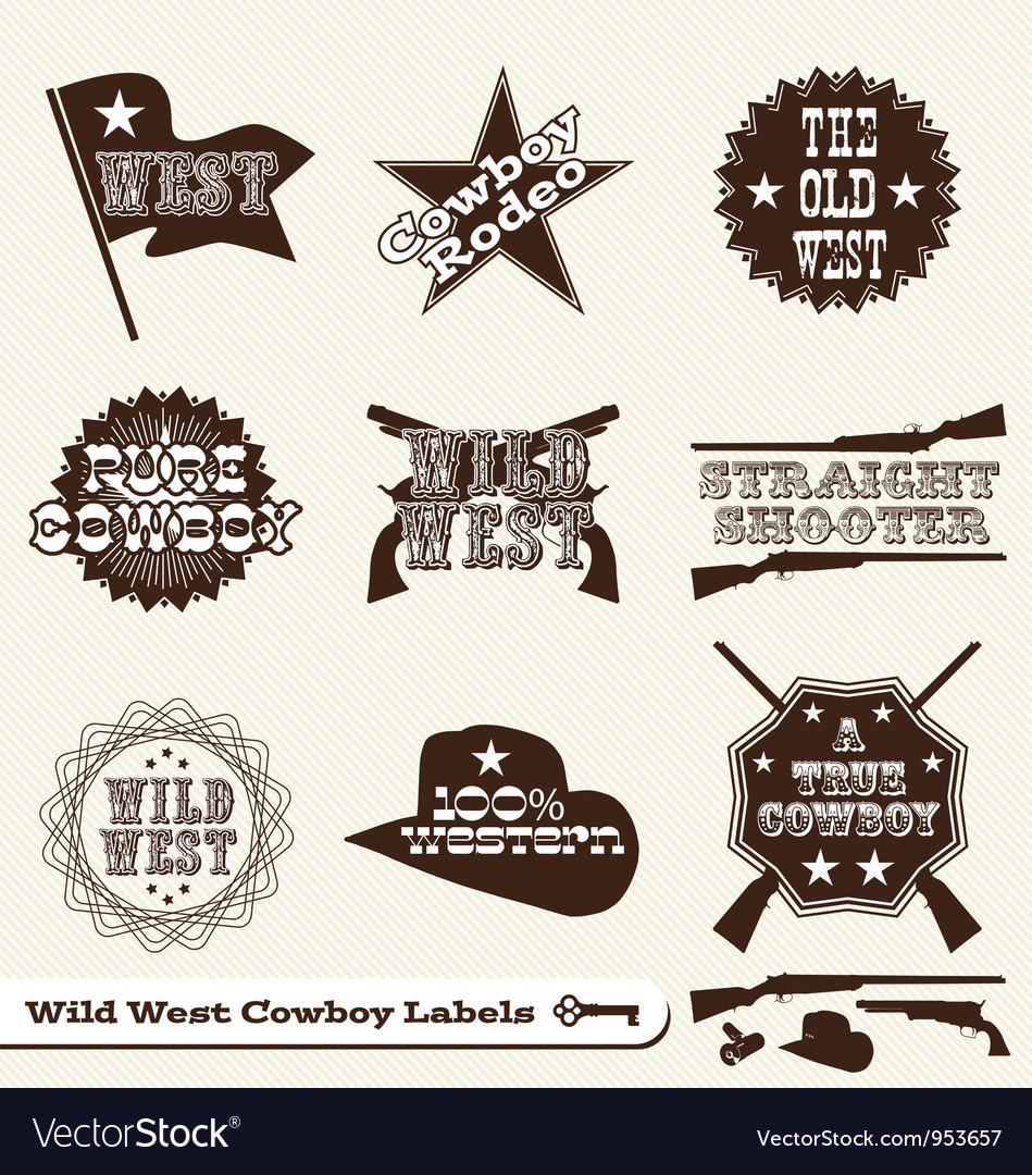 Cowboy labels vector