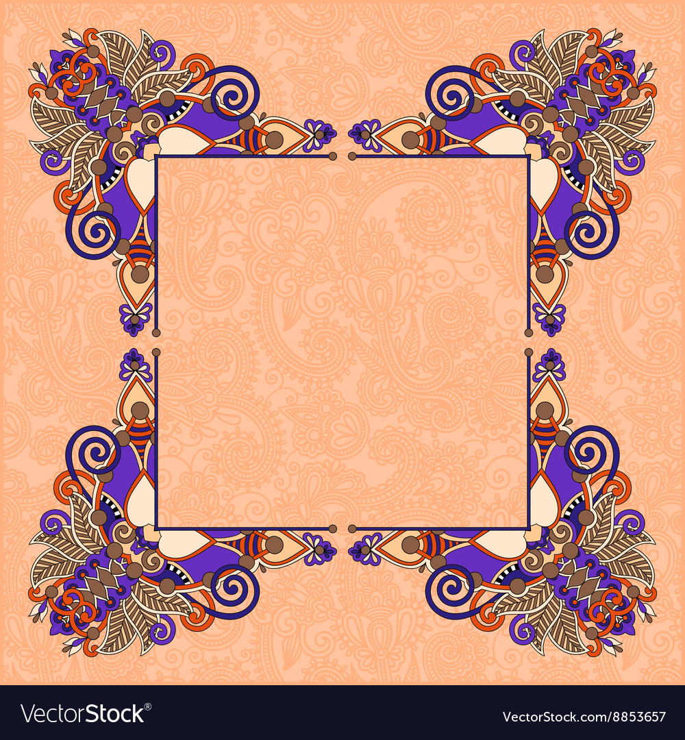 Floral vintage decorative ethnic frame ukrainian vector