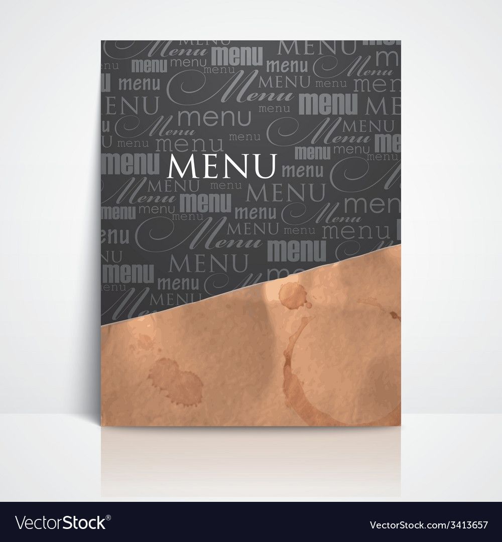 Restaurant menu design with grunge cardboard vector