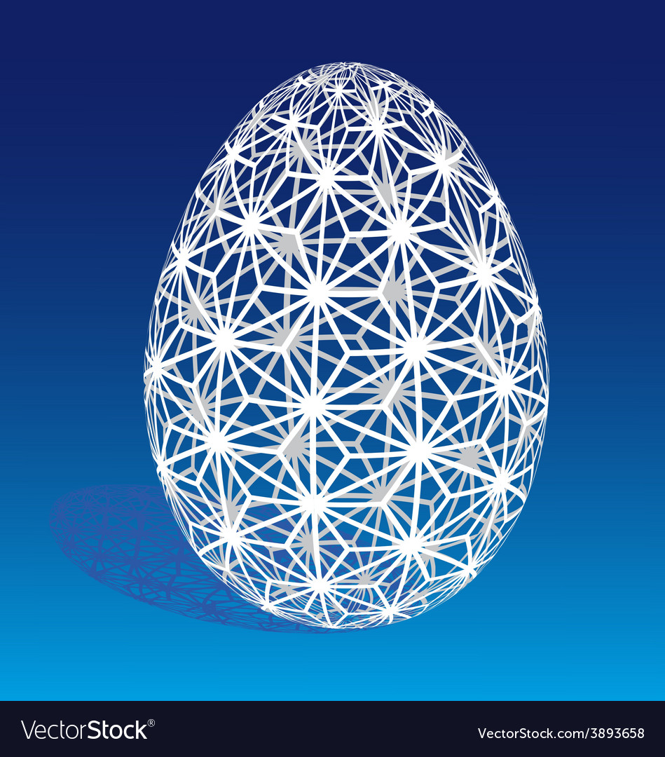 Easter egg with 3d pattern vector