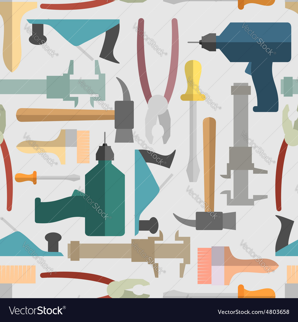 Hand tools seamless pattern background vector