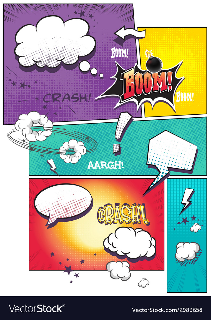 Image comic book pages with different speech vector
