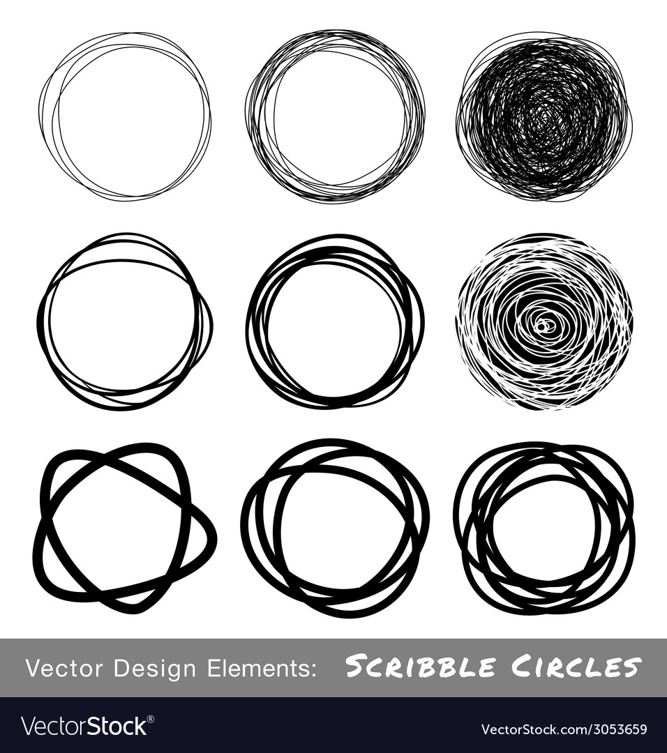 Scribble rounds set9 vector