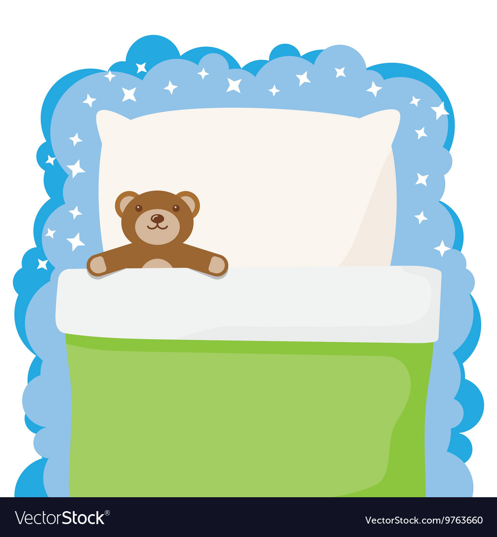 Children bed with a favorite toy teddy bear vector