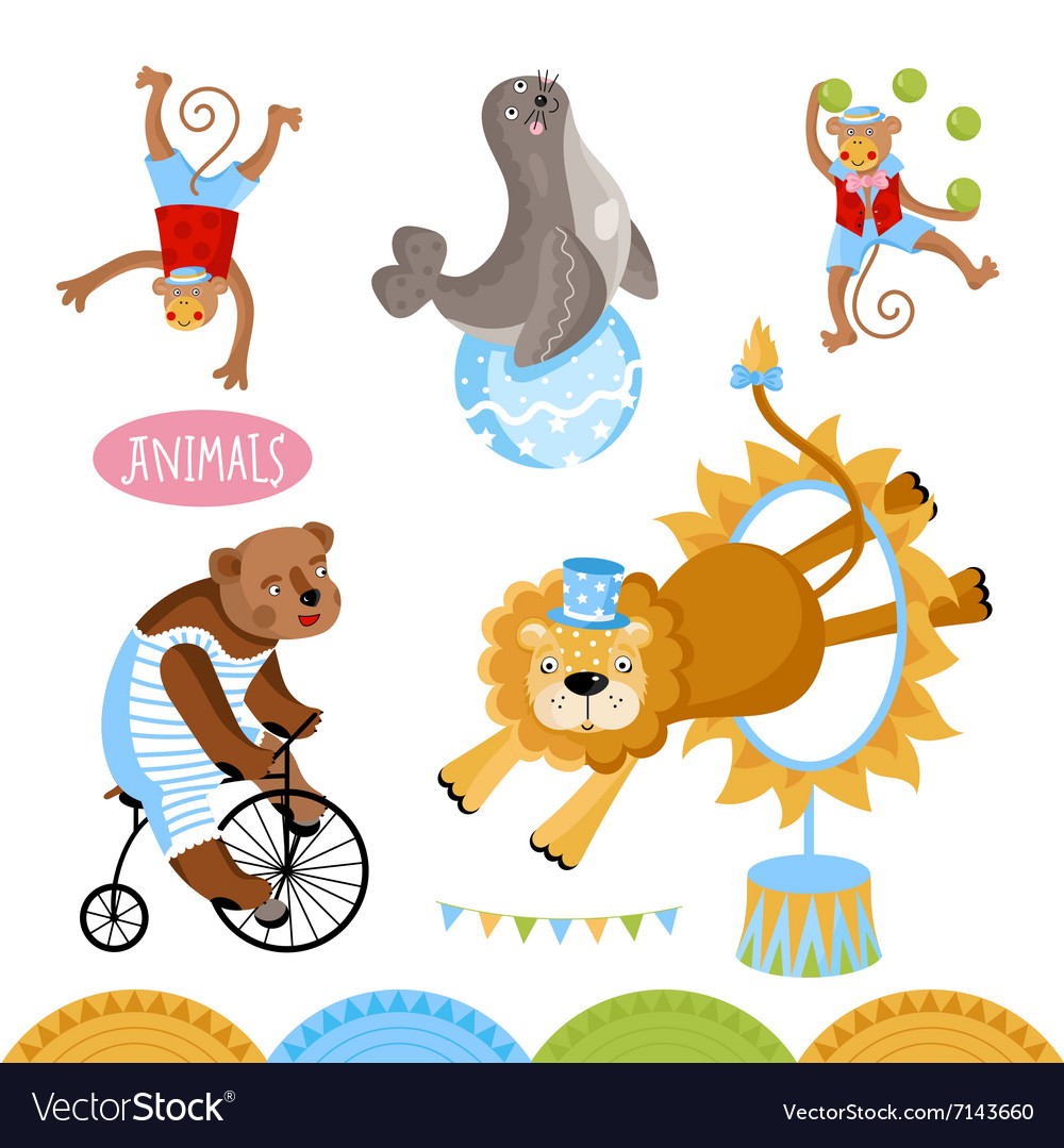 Circus animals perform tricks vector