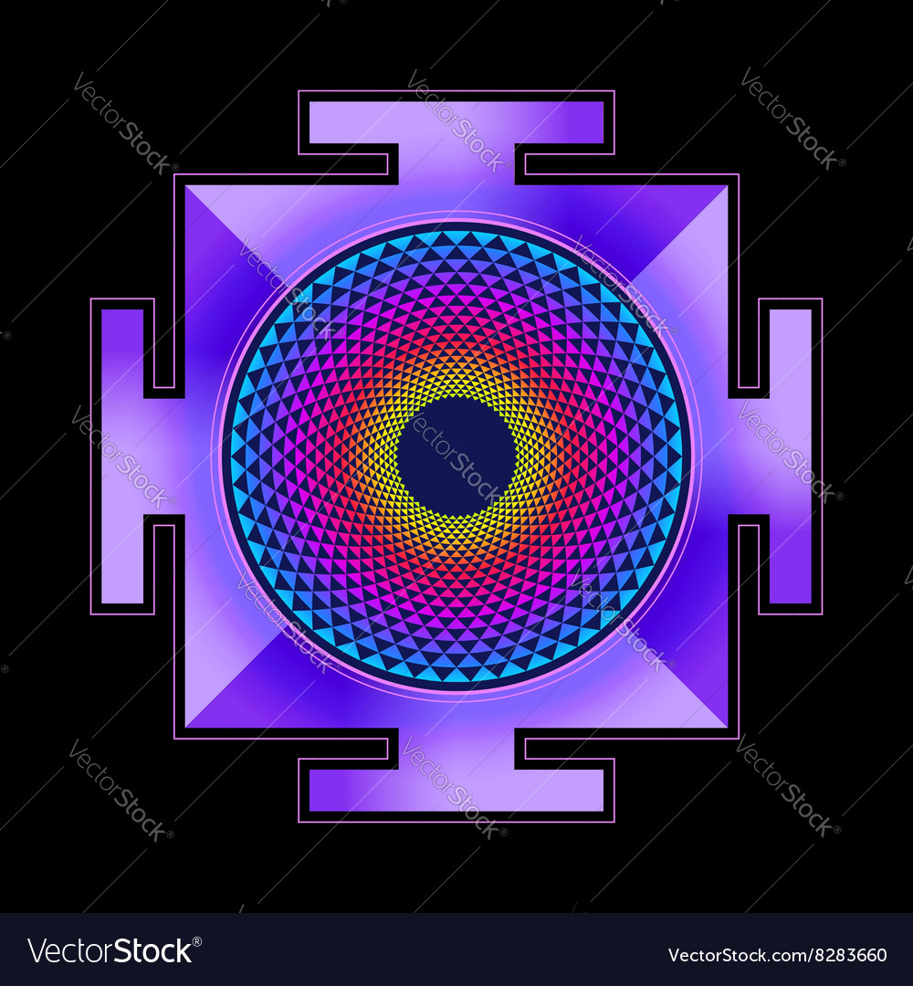 Colored sahasrara yantra vector