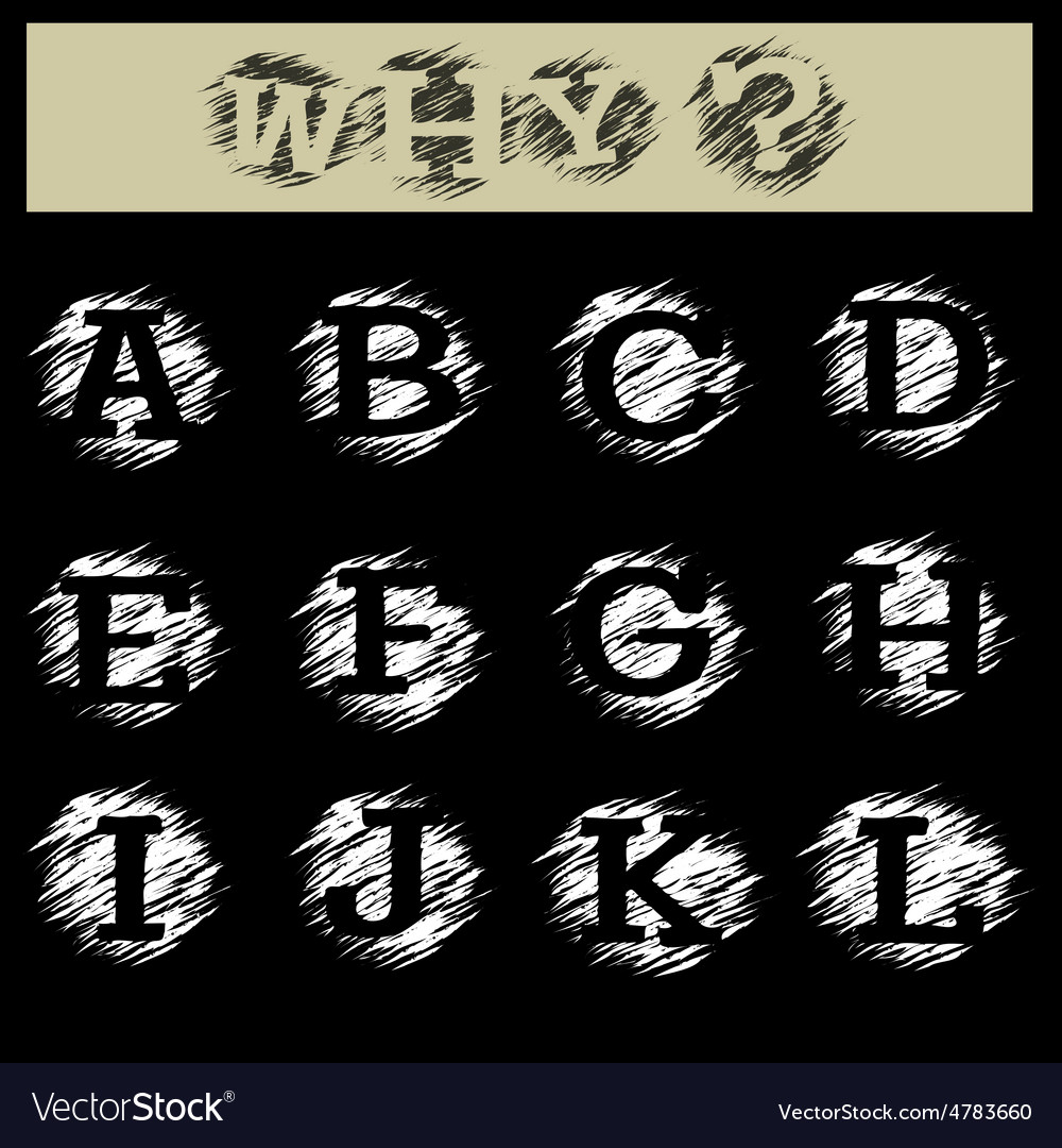 Grunge alphabet a to l vector