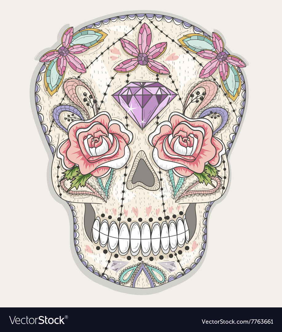 Cute mexican skull vector